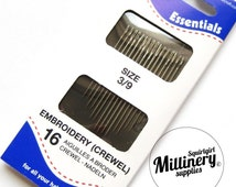 Pack of 16 Embroidery Crewel Hand Sewing Needles (Size 3/9)