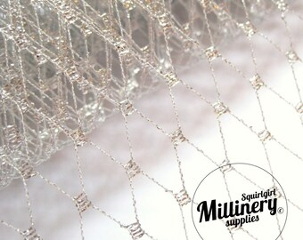 Metallic Silver Russian / French Veiling for wedding birdcage veils & fascinator millinery 1 Yard