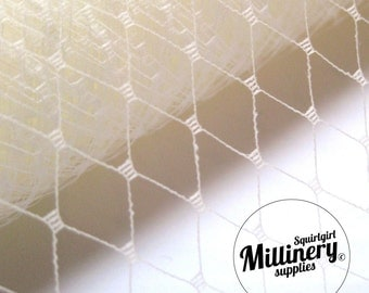 18 Inch Wide Ivory Russian / French Net Veiling for wedding birdcage veils, fascinators and hat millinery (1 Yard)