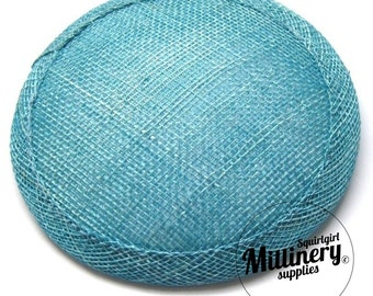 Turquoise Round Millinery Sinamay Hat Base for Fascinators, Cocktail Hats and Wedding Veils