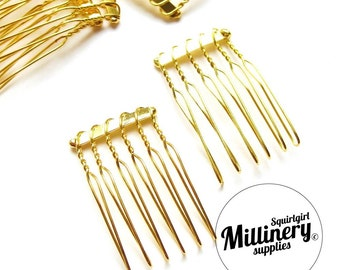 2 Gold Plated Metal Hair Combs for birdcage veils and fascinators