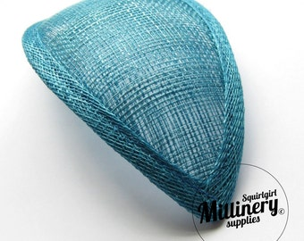 Turquoise Retro 1940s style Teardrop Millinery Sinamay Hat Base for Fascinators and Cocktail Hats