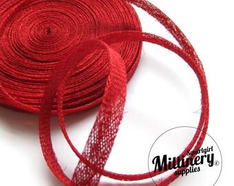 2 Yards 1cm Wide Red Sinamay Bias Binding for Millinery Hats & Fascinators