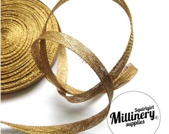 2 yards 1 cm Wide Metallic Gold Sinamay Bias Binding for Millinery Hats & Fascinators
