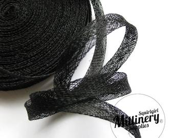 2 Yards 1cm Wide Black Sinamay Bias Binding for Millinery Hats & Fascinators