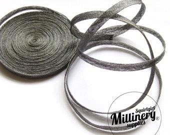 2 yards 1cm Wide Pewter Grey Sinamay Bias Binding for Millinery Hats & Fascinators