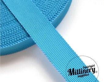 Turquoise 15mm No.3 Millinery Petersham Hat Ribbon (5 yards)