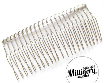 """8.5cm (3.25"""") Silver Plated Metal Hair Comb for Fascinators & Millinery"""