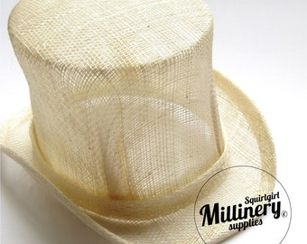 Ivory Sinamay Mini Miniature Top Hat Fascinator Base for Millinery