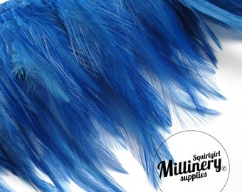 Hackle Feather Fringe for fascinators, millinery and crafts (Around 60 feathers) - Royal Blue