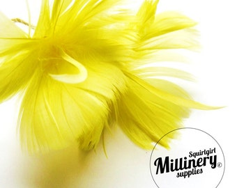 Yellow Goose Feather Flower Hat Trim for Fascinators, Wedding Veils and Hat Making