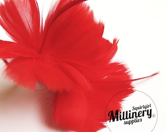 Red Goose Feather Flower Hat Trim for Fascinators, Wedding Veils and Hat Making