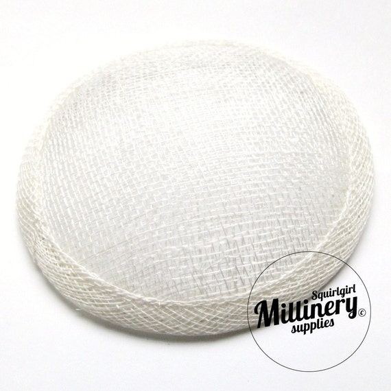 White Round Millinery Sinamay Hat Base for Fascinators, Cocktail Hats and Wedding Veils