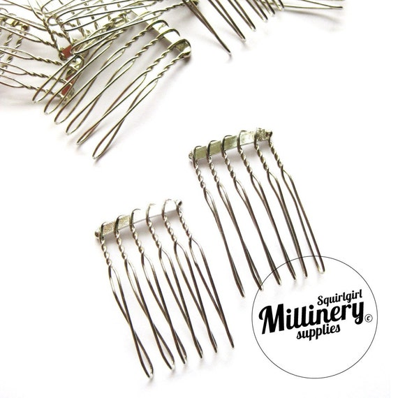 2 Silver Plated Metal Hair Combs for birdcage veils and fascinators