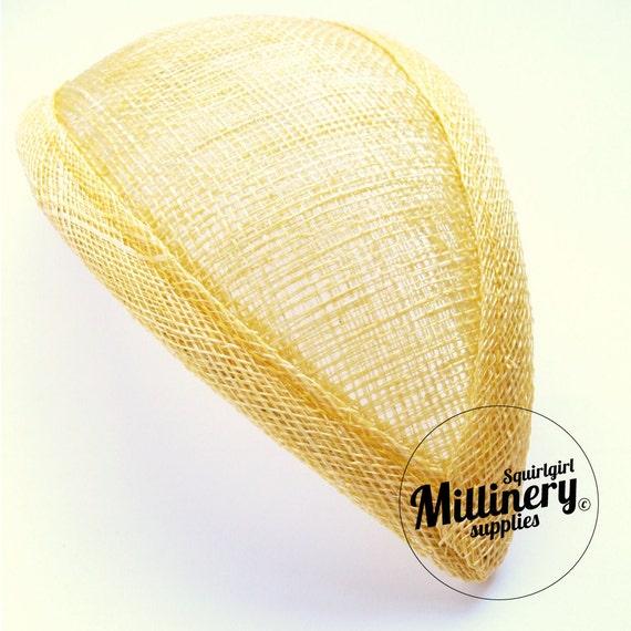 Yellow Retro 1940s style Teardrop Millinery Sinamay Fascinator Base