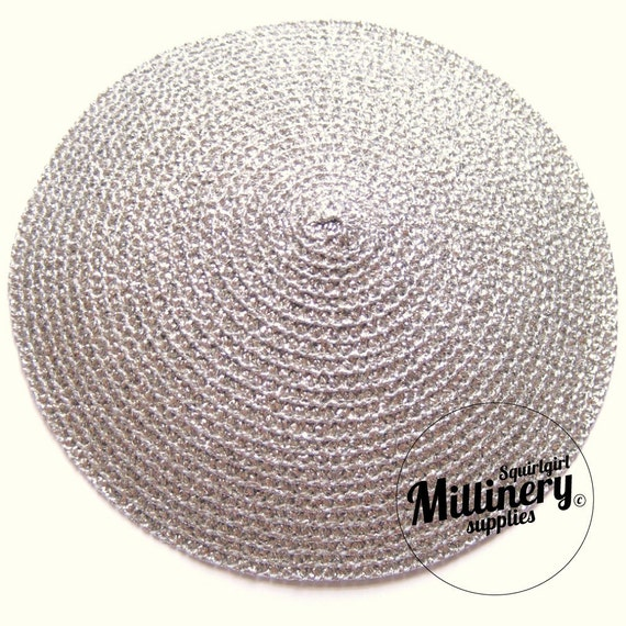 Large Metallic Silver Fascinator Hat Base for Millinery