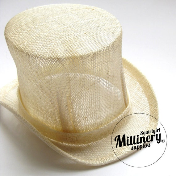 Ivory sinamay mini miniature top hat fascinator base by for Tiny top hats for crafts