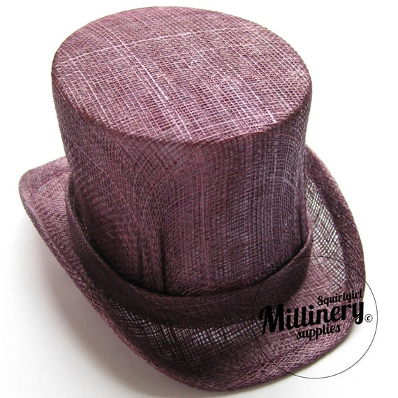 Mini Miniature Top Hat Sinamay Fascinator Base for Millinery - Plum Purple (RESERVED FOR CHANA)
