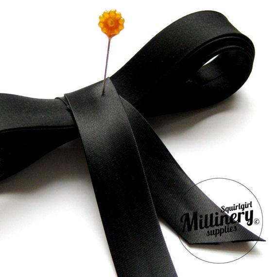 Satin Bias Binding Ribbon 20mm Width Black - 2 Yards