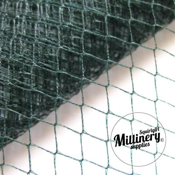 Vintage Dark Teal Green English 1960's / 1970's Birdcage Veil Millinery Fabric, 1 yard