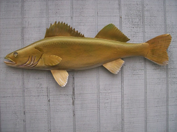 Hand carved wood fish walleye