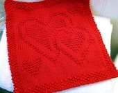 "Hand Knit ""Family Love"" Washcloth or Dishcloth"