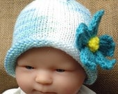 Hand Knit Tropical Baby Hat - 3-6 mos - RESERVED FOR LINDA