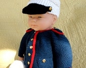 Hand Knit Baby Marine Uniform- 3 months - RESERVED FOR LEAH