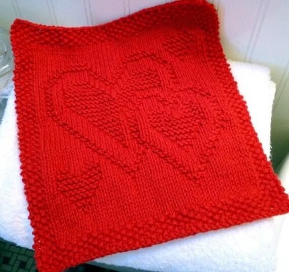 "Hand Knit ""Family Love"" Washcloth or Dishcloth"