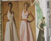McCalls 3883 Evening Elegance Halter Evening Dress Pattern Size 12-14-16-18