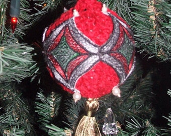 Stained glass crochet christmas ball
