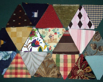 20 Hand Cut Triangle Charm Quilt Pieces