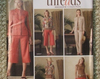 Threads Magazine Collection Simplicity 4275 Jacket in 2 lengths Long Straight Leg Pants, Cropped Wide Leg Pants and Knit Top Sizes 6-14