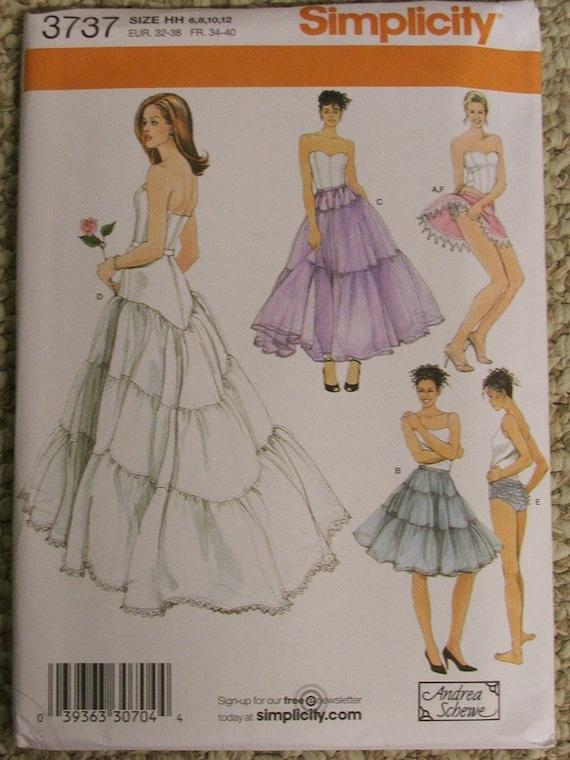 Simplicity 3737 Wedding Lingerie Pattern Petticoat Crinoline Size 14-16-18-20
