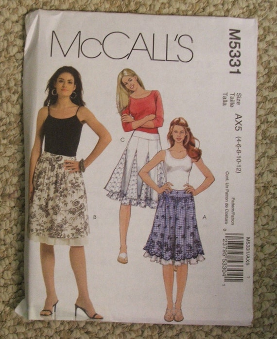 McCall's M5331 skirt pattern Size 4-6-8-10-12