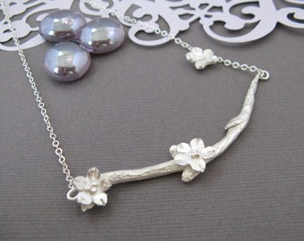 Cherry Blossom Silver Choker Handcrafted Fine Silver Branch