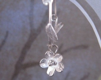 Cherry Blossom Silver Hoops Earrings Handcrafted