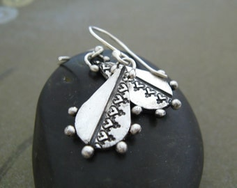 Silver Lace Impression Earrings Organic Tribal  Fine Silver