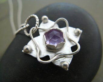Geometric Blossom Pendant with Rose Cut Amethyst