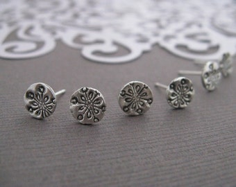 Mini Snowflake Studs Silver Earrings Handmade