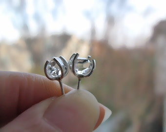 Herkimer Diamond Stud Earrings in Silver - Small 6mm