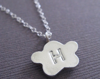 Cloud Initial Charm Recycled Silver Necklace Handcrafted