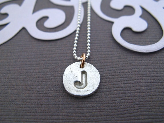 Baby Jane Initial Charm Recycled Silver Necklace