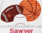 Personalized Sports Balls Shirt, Baseball, Basketball, Football, Birthday Shirt, Boys Birthday, Birthday Gift