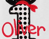 Personalized Birthday Pirate Number, Monogrammed, Custom Fabrics, Girls Birthday Shirt, Shirt,Tank,Bodysuit,Romper, Gift