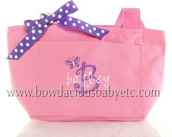Monogrammed Lunch Tote, Personalized, Great for school, work, daycare, or picnics, Custom Colors and Font