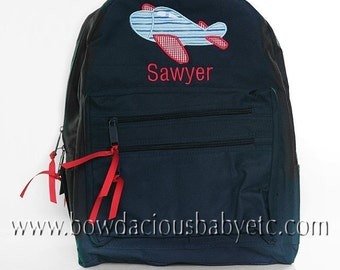 Boys Personalized, Custom Boys Backpack, Airplane Backpack, Monogrammed, Choose Your Own Colors