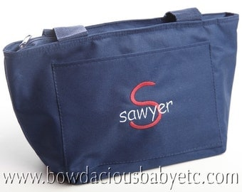 Custom Monogrammed Personalized Lunch Tote Bag, Custom Font and Colors