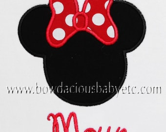 Girls Personalized Monogrammed Minnie Mouse Shirt, Black or White, Free Personalization, Sizes 3-6months to Size 12, Shirt, Tank, Bodysuit
