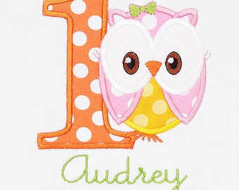 Personalized Owl Birthday Shirt, Number, Monogrammed Girls Birthday Shirt, Shirt,Tank,Bodysuit,Romper, 3m up to 12 yrs,Gift